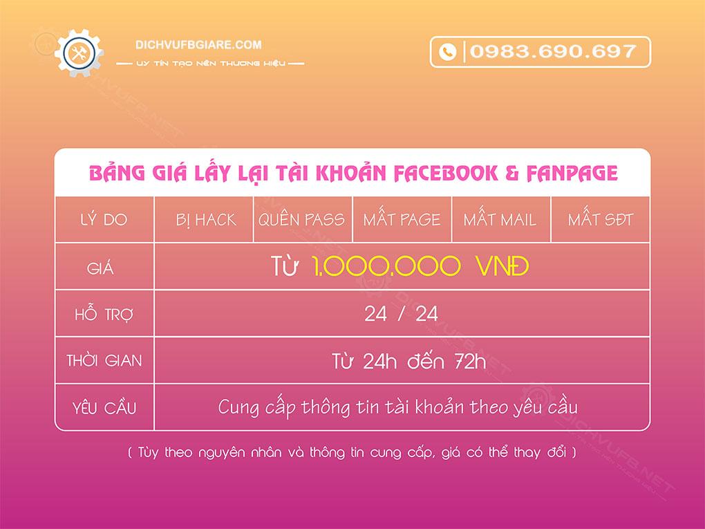 dịch vụ mở khóa facebook uy tín