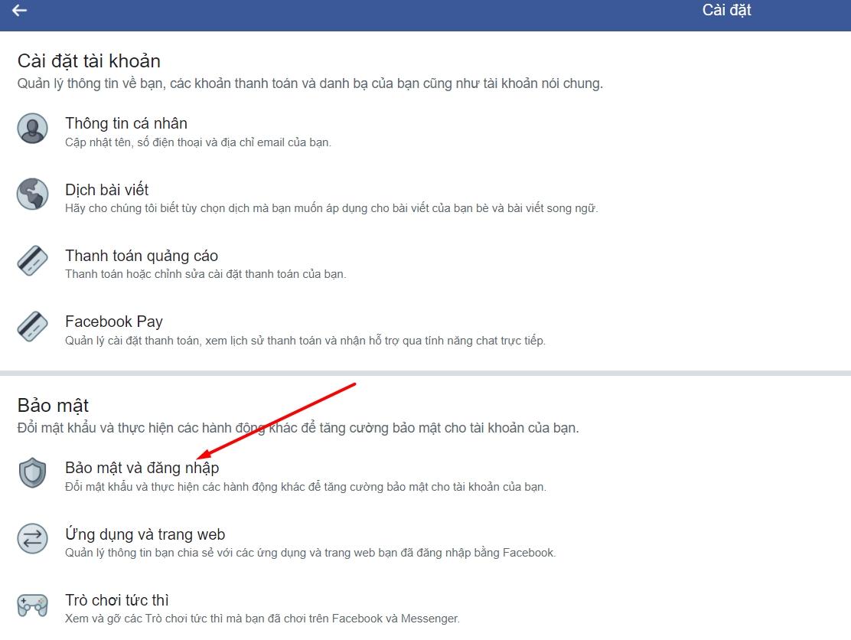 Tắt trình tạo mã Facebook trên điện thoại
